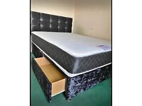 STUNNING CRUSHED VELVET DIVAN BED SETS WITH FREE DELIVERY
