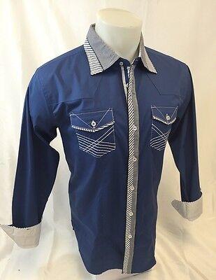 Mens VICTORIOUS Designer Shirt Button Up Sport Woven 2 Pocket Blue NWT NEW 420