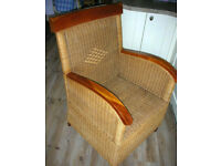 Wicker antique armchair in art deco style, excellent condition