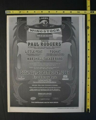 Paul Rodgers 2007 Concert Ad WIngstock Lakewood NJ Free Queen Bad Company