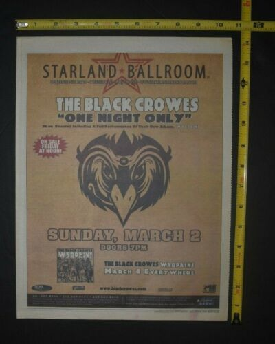 The Black Crowes 2008 Concert Ad One Night Only Warpaint