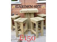 GARDEN TABLE WITH 4 STOOLS ONLY £150