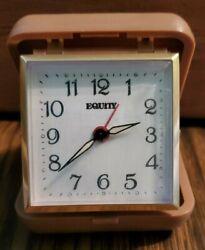 Vintage EQUITY WIND UP Travel Alarm Clock Brown Case
