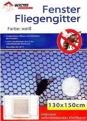 5x Fenster Fliegengitter weiß 130x150cm | Fliegennetz | Mückengitter