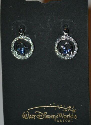 Disney Arribas Mickey Heart In Circles Silver Tone Earrings W/Swarovski Crystals