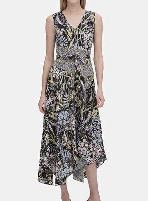 Calvin Klein Floral Print V Neck Hanerkerchief-hem Dress Size 16