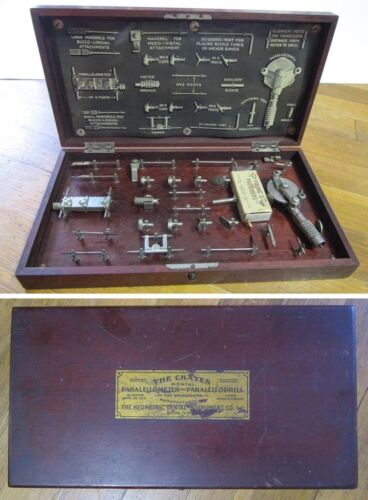 1915 Chayes Dental Paralellometer Paralellodrill Antique Medical Instrument Kit
