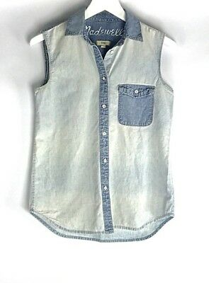 Madewell Sleeveless Chambray Denim Button Up Shirt Blouse Women Xs Two Tone
