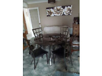 BARGAIN Smoked Glass And Metal Table 4 Chairs