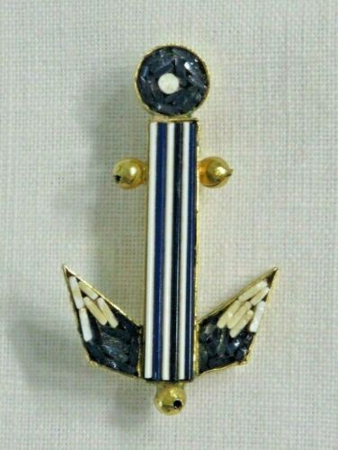Vintage Micromosaic Anchor Designed In Italy  Brooch Pin Lot 1367 lisasfinds