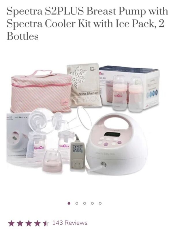 Spectra S2Plus Breast Pump w/ Cooler Kit, Ice Pack, 2 Bottles *NEW IN BOX*