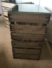 Vintage side tables / fruit crates