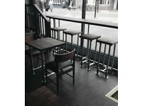 Restaurant Scaffolding tables, stools and bar tables