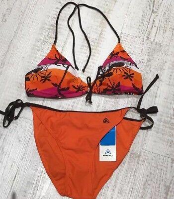Firefly Firefly Firefly (NWT FIREFLY California Dream Orange Mix Tropical-Palm Halter Neck Bikini Size 8)