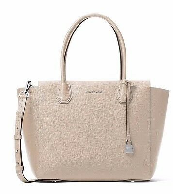 NWT $328 MICHAEL KORS Studio Leather Mercer Large Satchel Tote Cement Beige Grey