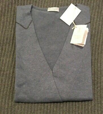 NWT 3295$ Brunello Cucinelli 100% Cashmere sleeveless Sweater monili blue sz XL
