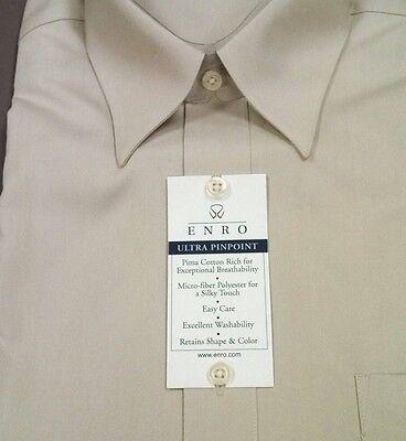 Pinpoint Point Collar Dress Shirt (Enro Mens Dress Shirt Ultra Pinpoint Oxford Point Collar 16-32/33 $58 NWT Tan )