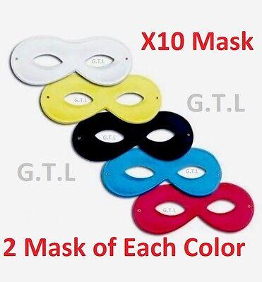 Bulk Fancy Dress Robber Super Hero Masquerade Ball Domino 5 Colours X10 Eye - Eye Mask Bulk