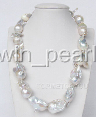 Natural 31mm Baroque Reborn Keshi Pearls Necklace White Woman Jewellery