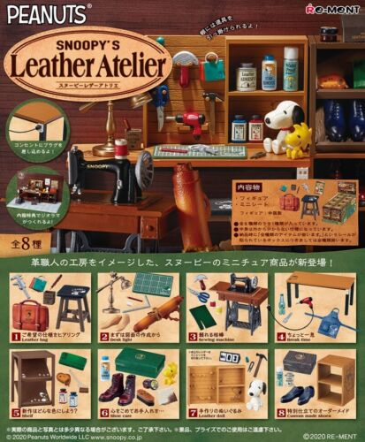 Re-Ment Miniature Peanuts Snoopy Leather Atelier Full set 8 pieces Rement