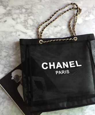 Chanel Black Large Mesh Tote Beach Travel Bag With Gold Chain Beauty VIP Gift