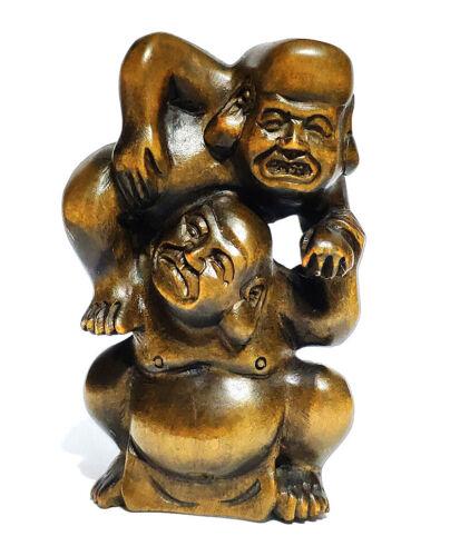 "Y6323 - 2"" Good Quality Hand carved Boxwood Netsuke - 2 Wrestlers Men"