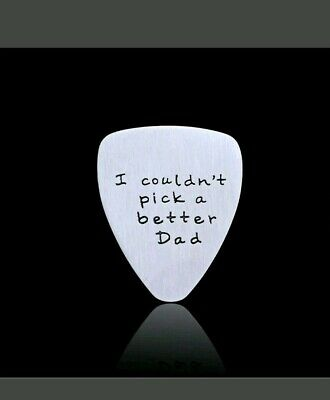 Fathers Day Gift Mens I Couldn't Pick a Better Dad Guitar Pick Silver