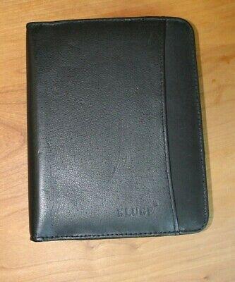 Kluge Black Leather Planner Brand New - Zippered 8x6 - Address Pocket Calendar