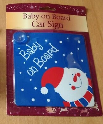 Baby on Board Car Signs Red Blue Child Christmas Theme Design Window Glass Stick