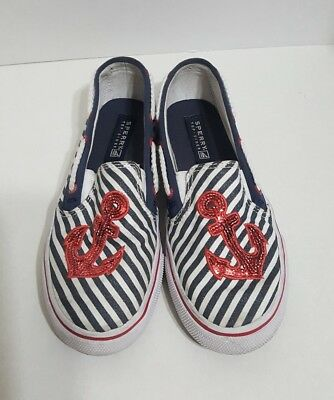 Sperry Top Sider Girls Size 1 Red White Blue Striped Anchor Sequin Shoes  (Red Sequin Shoes Girls)