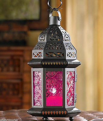 "small 10"" Hot pink & dark black Moroccan shabby Candle holder Lantern Lamp light"