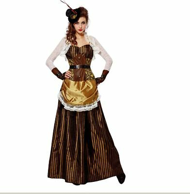 Womens Steampunk Victorian Lady Madame Dress Headpiece Halloween Costume S-XL - Madame Costume