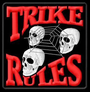 Trike Rules ecusson brodé patche Thermocollant iron-on patch - <span itemprop=availableAtOrFrom>Poznan, Polska</span> - Zwroty są przyjmowane - Poznan, Polska