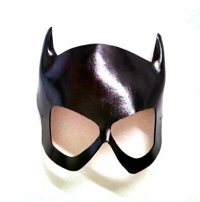 Genuine Leather Handmade Batgirl Black Cosplay Con Mask Barbara Gordon 1960's - Batgirl Mask