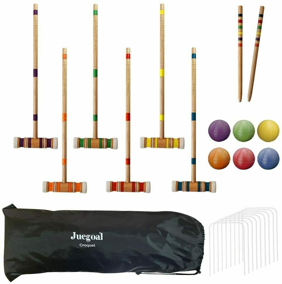 HARDWOOD OUTDOOR CROQUET SET DELUXE SPORTS WITH CARRYING BAG