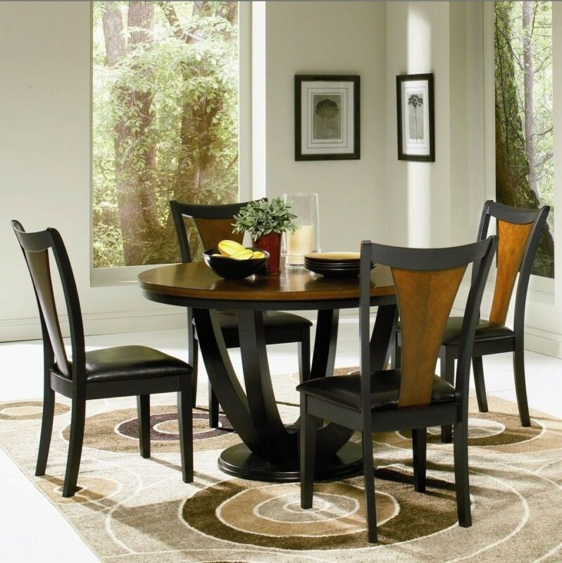 "Modern 5 Piece Dining Room Set 48"" Round Table Chairs Two Tone Black & Cherry"