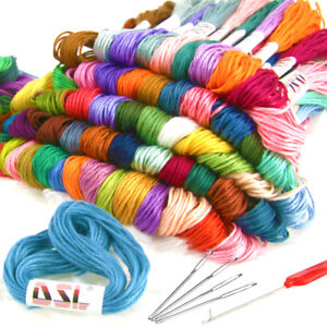 120 X Skein Coloured Embroidery Thread Cotton Cross Stitch Braiding Craft Sewing