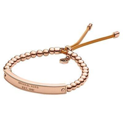 Michael Kors Rose Gold Heritage Plaque Logo Beaded Leather Bracelet w/ gift box