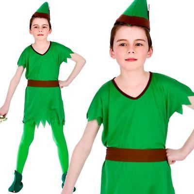 Jungen Mädchen Robin Hood Elfe Peter Pan Pixie Buchwoche Kostüm Neu