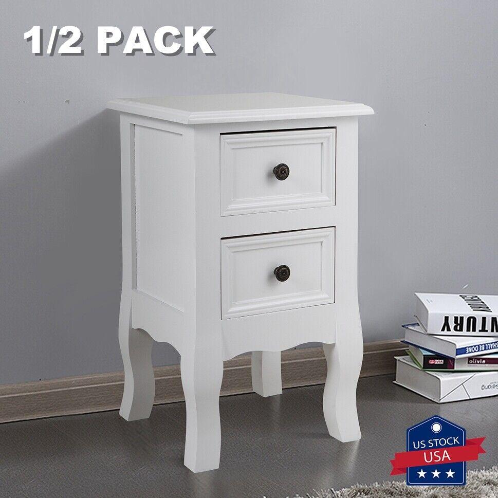 Wooden End Side Table Nightstand Bedroom Bedside w/2 Drawer Organizer Furniture