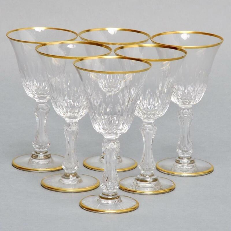 "(6) SAINT LOUIS CRYSTAL ""LOZERE"" WINE GLASSES VERTICAL CUTS & GOLD RIM"