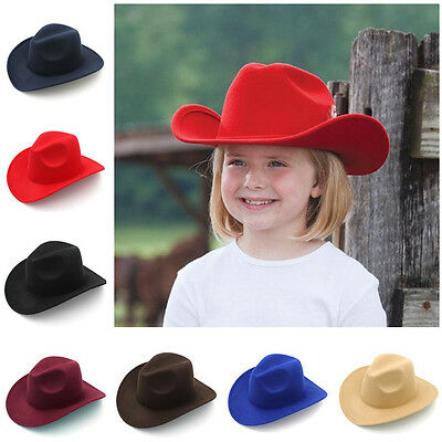 Kids Children Boys Panama Hat Cowboy Western Caps Sombrero Sunhat Wide Brim Wool](Boys Cowboy Hat)