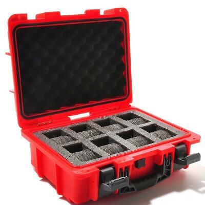 New Invicta 8 Slot Impact Hard Red Dive Storage Collector Waterproof Case