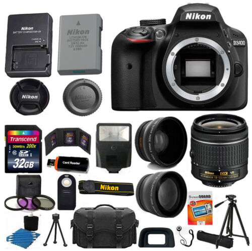 Nikon D3400 Digital SLR Camera 3 Lens Kit 18-55 VR Lens + 32GB Best Value Bundle