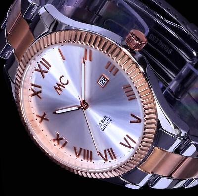 Große MC Damen Armband Uhr Rose Gold Silber Farben Datum Edelstahl Bicolour