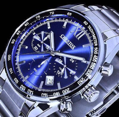 CHESTOX Uhr Herrenuhr Armbanduhr Chronograph Datum Blau Silber Farben 0101 online kaufen