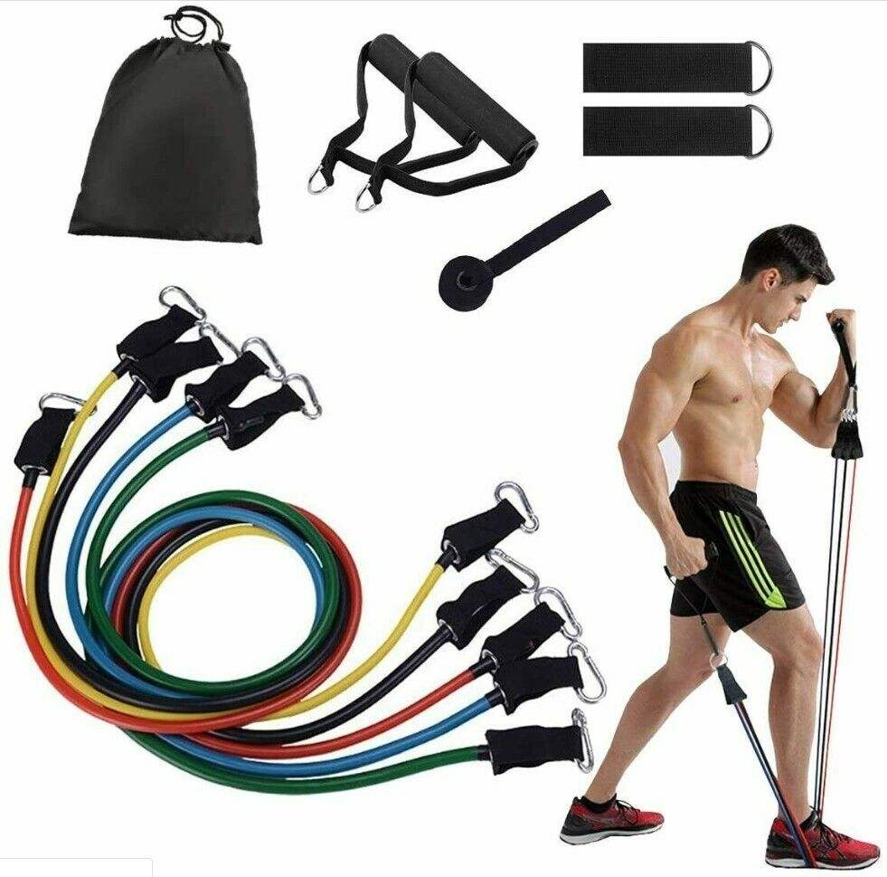 11x Fitness Pull Rope Sets Crossfit Training Exercise Yoga Tubes Expander
