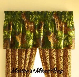 Safari jungle cats cheetah leopard animal print window for Animal print window treatments