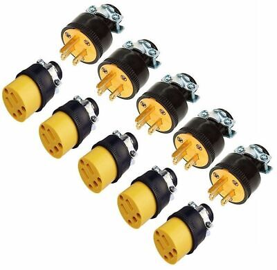 (10) Extension Cord Replacement Ends (5) MALE (5) FEMALE Plug Electrical Repair
