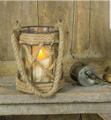 NEW!! Beach Lake Rustic Nautical Jute Rope Glass Candle Holder - Nautical Wedding Centerpieces